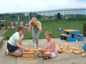 Using the giant Jenga, or playing rounders, plus lots more to do at the Youth activities organised by PCSO's in Leighton-Linslade area