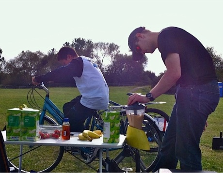 Making a healthy smoothie by pedal power